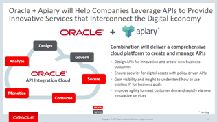 Oracle acquired apiary oracle soa bpm partner community blog on january 19 2017 oracle announced that it signed an agreement to acquire apiary which creates the most comprehensive api integration cloud by adding malvernweather Images